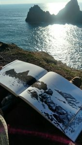 Elizabeth Perry sketching at Kynance Cove